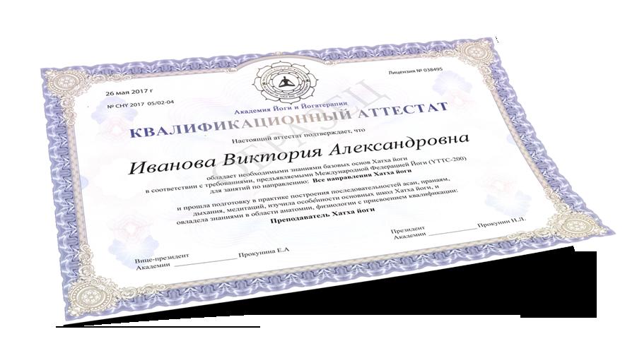 Хатха йога сертификат преподавателя Академии Йоги и Йогатерапии Прокуниных